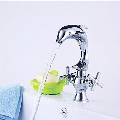 QMPZG-Messing Waschtischarmatur, Waschbecken Einhebel Einlochmontage Wasserhahn heiß und kalt,