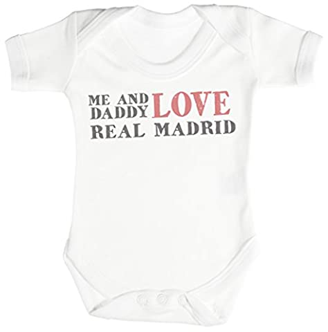 TRS - Me & Daddy Text Love Real Madrid Body bébé 6-12 Mois Blanc