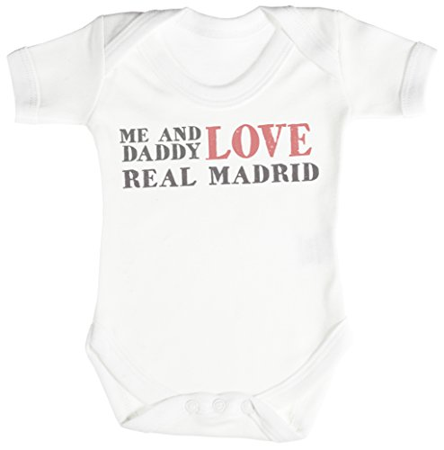 TRS - Me & Daddy Text Love Real Madrid regalo para bebé, body para bebé niño, body para bebé niña 0-3M Blanco