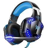 Tsing Auriculares Cascos Gaming de Diadema Abiertos Estéreo con Micrófono para PC Computadoras (Negro+Azul)