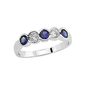 Jewelco London Rhodium Plated Sterling Silver Blue and White Round Brilliant Cubic Zirconia Alternating Eternity Ring