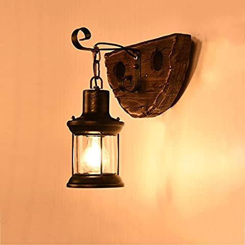 LZDHY Eclairage mural Lampe murale rétro en bois massif en bois Antique Popular Home Improvement Make Old Crafts Bar Cafe Wall Light Collection Feux de Noël