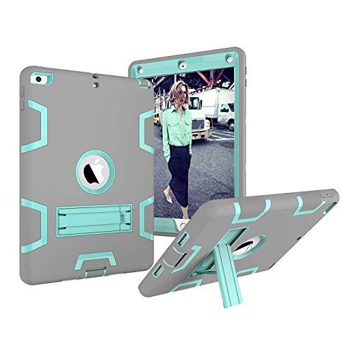 2017, dooge Drei Schichten PC & Silikon Armor Defender Heavy Duty Dämpfung Robuste Hybrid Full Body Schutzhülle mit Kickstand für Apple iPad 24,6cm 2017/2018Release, Grey+Aqua ()