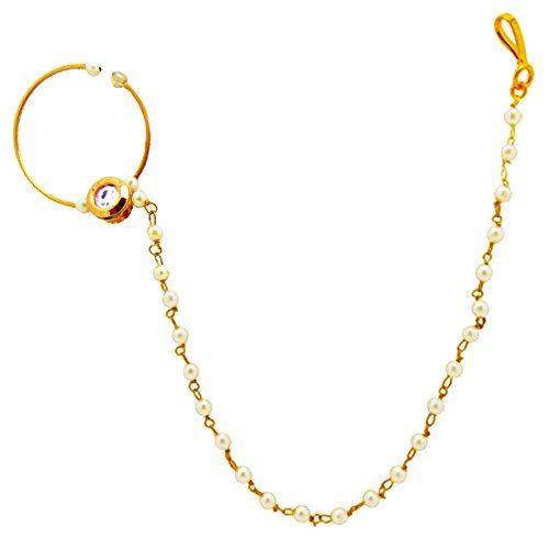 9blings Pearl Kundan Delicate Bridal Gold Plated Non Pierce Nose Ring With Chain  available at amazon for Rs.245