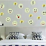 Stickers Muraux Fluorescents Fluorescents Lumineux Brillants dans Le Visage De Smiley Chaud Décorations De Noël pour La Maison...