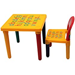 HOME HUT Table et chaises ABC Lettres de l'alphabet en Plastique pour Enfants-Enfants Tout-Petits Enfant-Cadeau