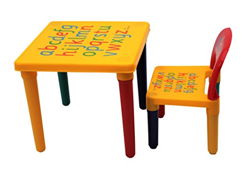 Table and Chair Set ABC Alphabet Childrens Plastic - Kids Toddlers Childs - Gift By HOME HUT®
