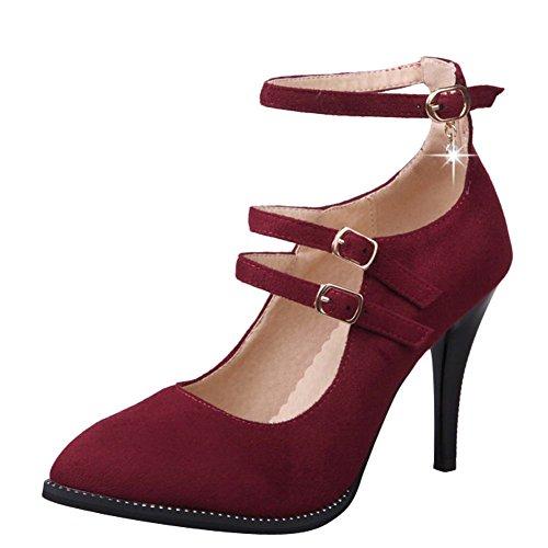Mee Shoes Damen high heels ankle strap Nubukleder Pumps Rot