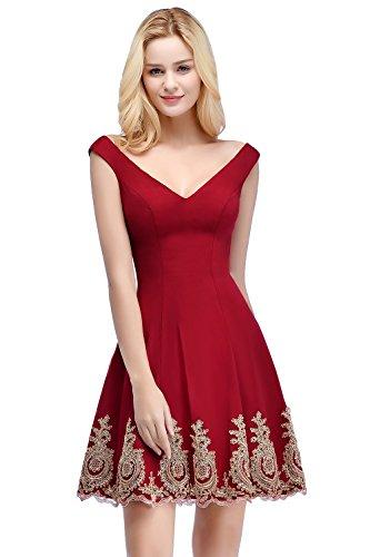 Misshow Damen Cocktail Kleid V Ausschnitt Sexy Partykleid Kleid Minikleid Abiballkleid Rot