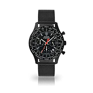 DETOMASO Firenze Reloj de Pulsera para Hombre Cronógrafo Analógico Cuarzo Negro Correa Milanaise Negro Esfera SL1624C-BK1-847