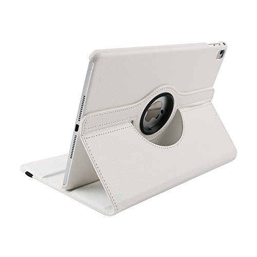 Preisvergleich Produktbild Case für iPad Air 2 ,elecfan® iPad Air 2 / iPad 6 360°drehende Smart Hülle PU Leder Abdeckung Gehäusedeckel für Apple iPad Air 2 Sleep / Wake (iPad air 2, Weiß)