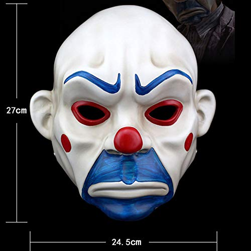 Joker Batman Weibliche Kostüm - JNKDSGF HorrormaskeAdult High-Grade-Harz Joker Bank Räuber Maske Clown Batman Dark Knight Halloween Prop Maskerade Party Kostüm Kostüm-Bild Farbe