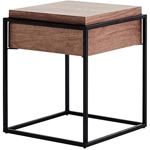 JJSFJH Einfache und Moderne Beistelltisch Platz Corner Tabelle Couchtisch Nussbaum Eisen Teetisch mit Schubladen Nachttisch Wohnzimmer-Sofa-Ecke Haushalt