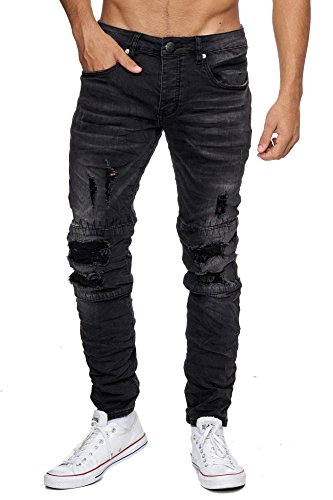 MEGASTYL Biker-Jeans Herren Hose Stretch-Denim Slim-Fit Stitches Grau