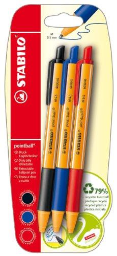 STABILO pointball Penna a sfera a scatto colori assortiti - Blister da 3