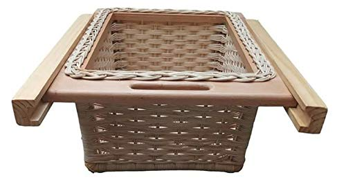 Infinity kitchenware Wooden Pull Out Wicker Basket (Silver)