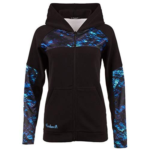 Huntworth Damen Ladies Anti-Pill Fleece Hooded Jacket Jacke, Black/Mystique, X-Large Hooded Warm Up Jacket