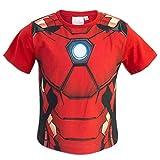 Marvel Avengers - T-Shirt Maniche Corte - Captain America Iron Man Black Panter - Bambino - Prodotto Originale con Licenza Ufficiale 8431ES [Rosso Iron Man - 10 Anni - 140 cm]