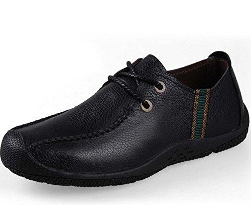 NobS Hommes Chaussures DéContractéEs Faible Appartements Ronde TêTe Cuir Hommes Chaussures RandonnéE Chaussures Black
