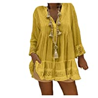 DUe Womens Drape Plus-Size Long Sleeve Stand Collar Elegant Lace Blouse Shirt Yellow XL