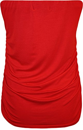 WearAll - Grande taille bandeau top ruché sans manches - Hauts - Femmes - Tailles 42 à 46 Rouge