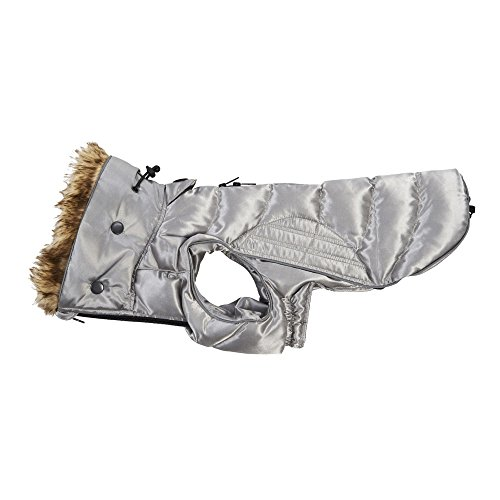 Kruuse buster - cappotto imbottito con profili in pelliccia sintetica per animali (l) (grigio)