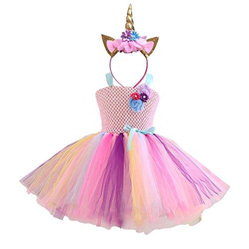 DIXIUZA Disfraz para Niñas Princesa Diadema Unicornio Floral con Oreja y Falda Vestido
