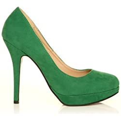 Eve - High Heels Stöckelschuhe grün Kunstwildleder Stilettos Plateau Pumps - Grünes Wildleder, Synthetik, 4 UK / 37 EU