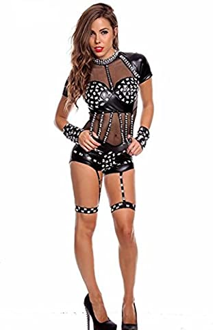 DFL Faux Patent Leather Sling PVC Mystery Perspective Gauze Women's Sexy Lingerie Rompers , figure