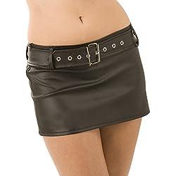 Minifalda de cuero sintético Christina - negro, talla 8+ | fetiche