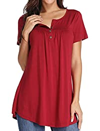 7cba5280e89b9 Xpenyo Women Short Sleeve Tops Henley Shirts V Neck Blouse Button Up Tunic Casual  Tops