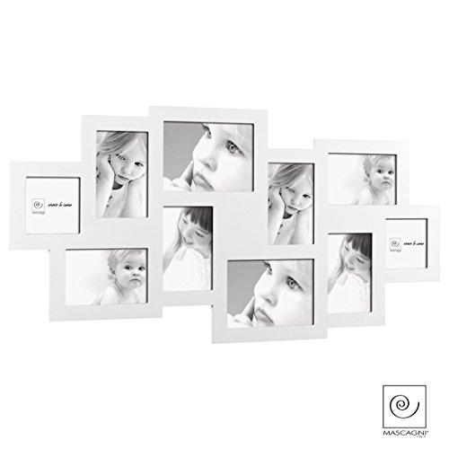 mascagni-cornice-multipla-portafoto-10-pz-bianca-in-legno-da-muro