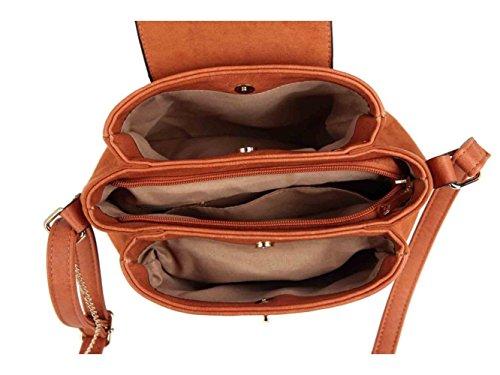 LeahWard® Damen Klein Größe Kreuzbeutel Damen Qualität Kunstleder Bote HandTaschen CW52077 CW52077-Schwarz