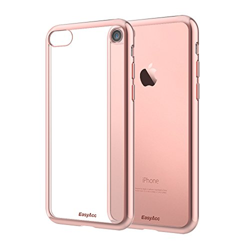 [Unterstützt kabelloses Laden (Qi)] EasyAcc iPhone 7 Hülle iPhone 8 Hülle Case Transparent Handyhülle Schutzhülle Durchsichtig TPU Crystal Clear Case Backcover Bumper Slimcase - Grau clear Hülle - Roségold