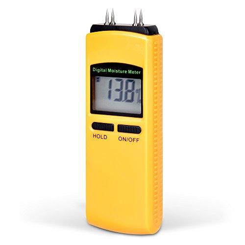 Digitaler Profi Feuchtigkeitsmesser Holz Beton Baustelle - Mini Sensor handlich Feuchtigkeits-Detector, Feuchtigkeitsmessgerät LCD-Anzeige Hintergrundbeleuchtung Sensibilität (Hellgelb)