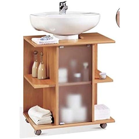 Mueble, modulo bajo para lavabo de baño, varios estantes y puerta de cristal, color cerezo