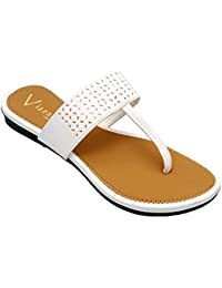 Vizzano Leathers Women's White Synthetic Slippers | Ladies Slippers | Ladies Flats | Chappal