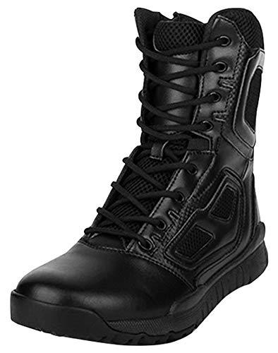MYXUAA Stivali tattici militari traspiranti da uomo Mens Nero indossabile con cerniera Combat Army Boot Wolf Outdoor Assault-black-EU45/US12/UK11