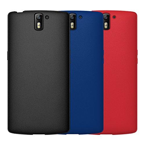Diztronic Bundle di 3 Full Cassa Opaca TPU Flessibile per OnePlus One, Nero/Blu/Rosso