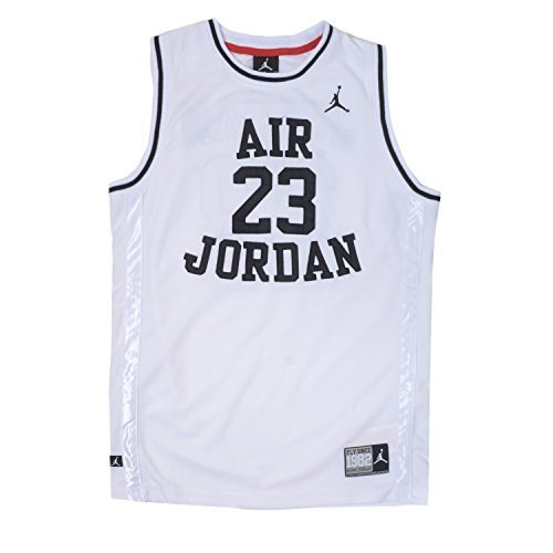 Nike Jordan Boys Youth Classic Mesh Jersey Shirt (XL(13-15YRS), White/Black) - Jordan Mesh-kleid