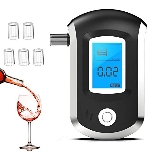 GNNMOY Professional Breathalyzer, Portable Breath Alcohol Tester with Audio Warning and LCD Screen Auto Power Off for Personal Home Use, Breath Alcohol Detector (with 5 Mouthpieces)
