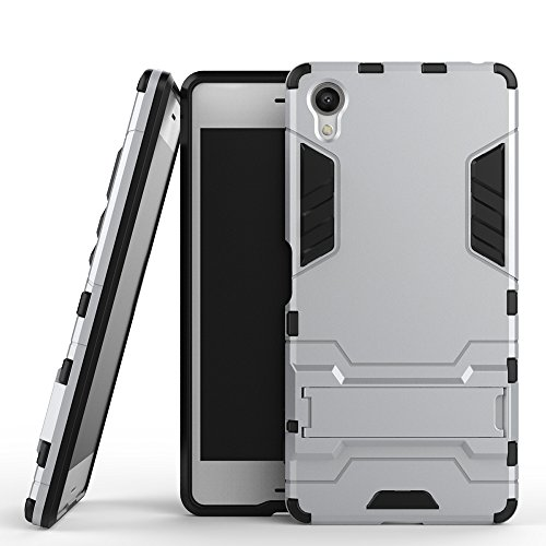 Xperia X Compact Coque,EVERGREENBUYING Ultra Slim l¨¦ger 2 en 1 F5321 Cases Housse Etui Premium Kickstand Bumper Hard Shell Back Coque Case Pour Sony Xperia X Compact Gris Argent