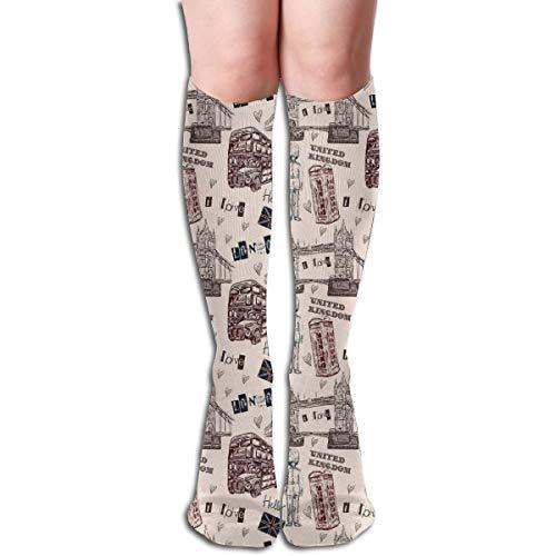 Compression Socks Graduated Stockings For Men & Women,London United Kingdom Island Print With City Signs Bus Bridge Artwork Print,Prevents Swelling,Travel,Everyday Use (Bridge City Bulk)