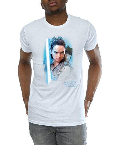 Star Wars Herren The Last Jedi Rey Brushed T-Shirt Weiß