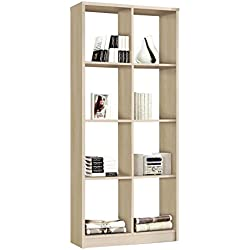 Estanteria – libreria para despacho salon comedor u oficina 8 huecos, 81x180, color haya