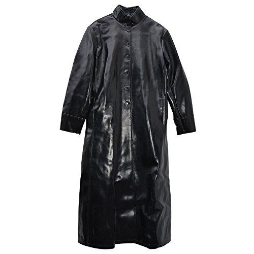 Zoelibat 31001567.008X L-Cappotto da donna similpelle con bottoni lunghezza al polpaccio, taglia XL, colore: nero