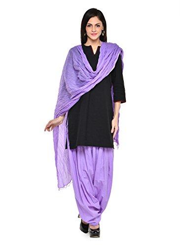 Stylenmart Women Cotton Solid Full Patiala Salwar Dupatta Set (Stmapa078612 _Lavender _Free Size)