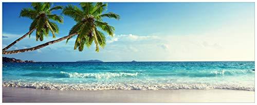 Wallario XXL Poster - Sandstrand auf Den Seychellen - Urlaub unter Palmen in Premiumqualität, Größe: 80 x 200 cm