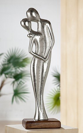 Skulptur Figura In Liebe Alu Mangoholz silber Höhe 42 cm, Figur, Liebe, Love, Hochzeit