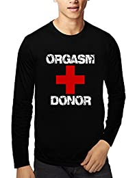 Baklol.in Men's Round Neck Full Sleeves Printed Funny T-Shirt(Orgasm Donor), Black